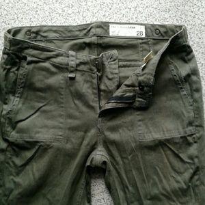 Skinny moto green khaki jeans by rag and bone